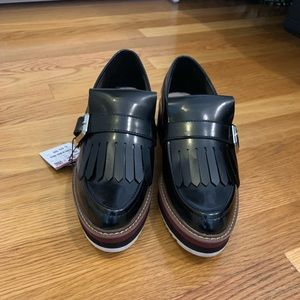 Zara patent leather platform loafers